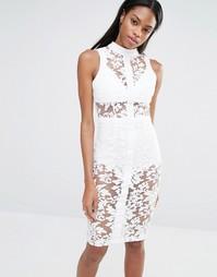 Кружевное облегающее платье без рукавов с высокой горловиной Mssguided Missguided
