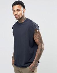 Oversize-свитшот без рукавов с принтом сзади ASOS - Темно-синий