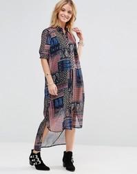 Платье-рубашка миди с платочным принтом Style London - Синий