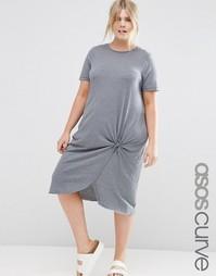 Платье миди с узелком спереди ASOS CURVE - Серый