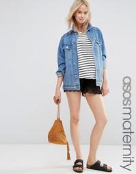 Трикотажная юбка-шорты для беременных с кружевной кромкой ASOS Materni