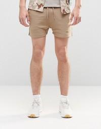 Короткие трикотажные шорты бежевого цвета ASOS - Sand dune