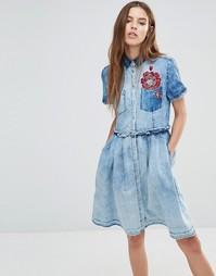 Джинсовое платье с вышивкой Diesel - Синий