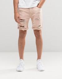 Розовые джинсовые шорты слим с прорехами ASOS - Розовая дымка