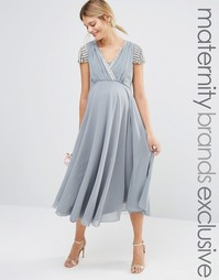 Платье миди с короткими рукавами и запахом спереди Maya Maternity