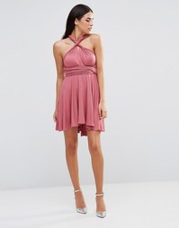Короткое приталенное платье‑трансформер Club L - Rhubarb