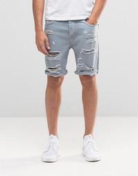 Синие джинсовые шорты слим с прорехами ASOS - Синий Эшли