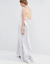 Свадебное платье макси с большим бантом сзади Jarlo - Серебристо-серый