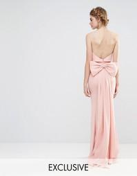 Свадебное платье макси с большим бантом сзади Jarlo - Бледно-розовый