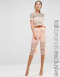 Юбка-шорты из сеточки и цветочного кружева True Decadence Tall - Peach