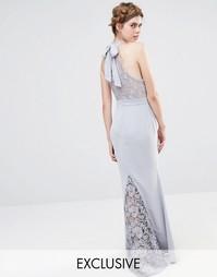 Свадебное кружевное платье макси с высокой горловиной и бантом сзади J Jarlo