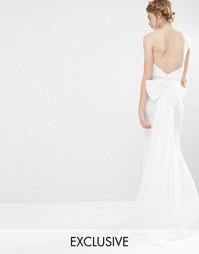 Свадебное платье макси с большим бантом сзади Jarlo - Слоновая кость