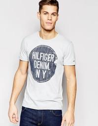 Серая футболка с логотипом в круге Hilfiger Denim - Gray dawn