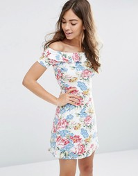 Свободное платье с винтажным цветочным принтом и открытыми плечами ASO Asos