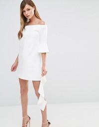 Платье мини с открытыми плечами и рукавами рюшами Dark Pink - Белый
