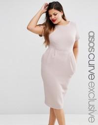 Облегающее фактурное платье миди ASOS CURVE - Сиреневый