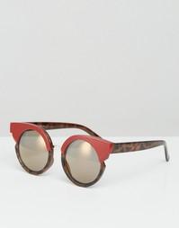 Круглые солнцезащитные очки с вырезами ASOS - Красный