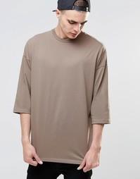 Коричневая oversize‑футболка с рукавами 3/4 ASOS - Коричневый