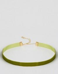 Бархатное ожерелье-чокер цвета хаки DesignB London - Хаки 153