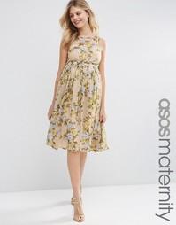 Платье миди для выпускного с желтыми розами ASOS Maternity - Мульти