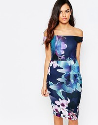 Платье-футляр в цветочек с открытыми плечами Jessica Wright Lora