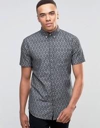 Рубашка с принтом и короткими рукавами Jack & Jones Premium - Черный