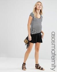 Юбка-шорты со складками для беременных ASOS Maternity - Черный