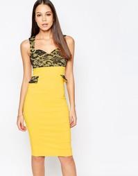 Платье-футляр с кружевными вставками и вырезом сердечком Vesper