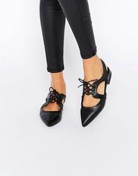 Туфли на плоской подошве и на шнуровке ASOS MINNESOTA - Черный