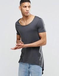 Сверхдлинная футболка с завязками и асимметричной кромкой ASOS