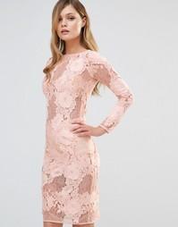 Кружевное платье миди с длинными рукавами Dark Pink - Телесный