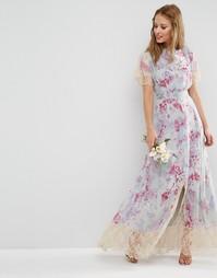 Платье макси с принтом и кружевом ASOS WEDDING - Мульти