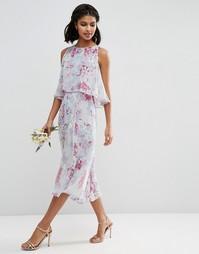 Двойное платье с принтом ASOS WEDDING - Мульти