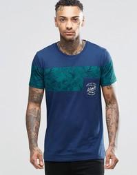 Футболка с карманом и принтом листьев Mambo - Темно-синий