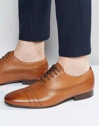 Кожаные коричневые туфли на шнуровке ASOS - Рыжий