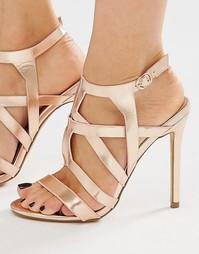 Босоножки на каблуке с отделкой металлик Missguided - Розовое золото