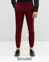 Зауженные брюки стретч с кромкой манжетом Only & Sons - Burgundy