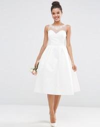 Платье миди для выпускного с вырезом сердечком ASOS BRIDAL - Белый