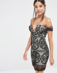Love Triangle Lace Bardot Dress - Черный