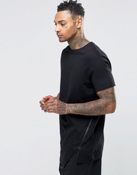 Удлиненная футболка с ассиметричной кромкой и молнией ASOS - Черный