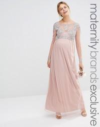 Платье макси из сеточки для беременных с отделкой на лифе Maya Materni