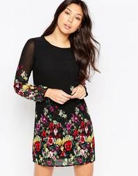 Цельнокройное платье с длинными рукавами и принтом Yumi - Черный