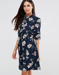 Платье с бантом‑завязкой и цветочным принтом Style London