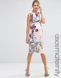 Платье-футляр с цветочным принтом и оборками ASOS Maternity