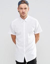 Рубашка из смешанного льна с короткими рукавами Selected Homme - Белый