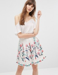 Юбка с цветочным принтом Vero Moda - Снежно-белый
