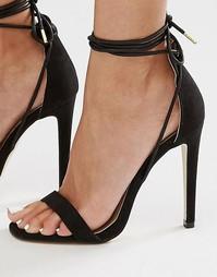 Сандалии на каблуке с ремешками Boohoo Barely There - Черный