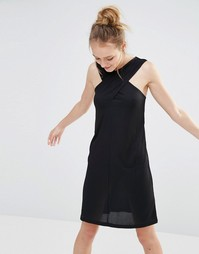 Monki Cross Front Ribbed Dress - Черный