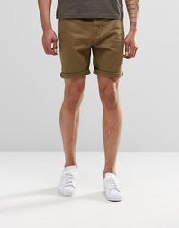 Зауженные джинсовые шорты цвета хаки ASOS - Ermine