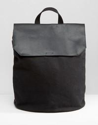 Холщовый рюкзак с кожаным верхом ASOS - Черный